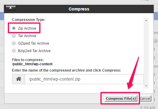 pilih-zip-lalu-klik-compress-file-cara-backup-wordpress